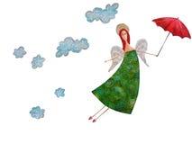 Het vliegen engel met een rode paraplu. Vector Illustratie