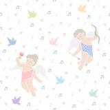 Het vliegen engelen met vogels Romantisch naadloos vectorpatroon voor de Dag of het huwelijk van Valentine Royalty-vrije Stock Afbeelding