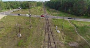 Het vliegen langs de spoorweg Spoorweg op een mooi bosgebied stock video