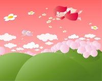 Het vliegen leuke engelen stock illustratie