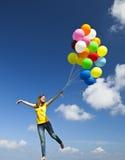 Het vliegen met ballons Royalty-vrije Stock Afbeeldingen