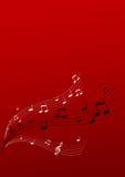 Het vliegen muziek op rode achtergrond Stock Fotografie