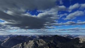 Het vliegen over de bergen en de wolken royalty-vrije illustratie