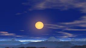 Het vliegen over de bergen naar de zon stock footage