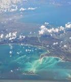 Het vliegen over de Caraïben Stock Foto's
