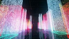 Het vliegen over de digitale stad in het commerciële en telecommunicatienetwerk van Internet het 3d teruggeven Stock Afbeeldingen