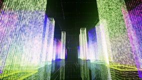 Het vliegen over de digitale stad in het commerciële en telecommunicatienetwerk van Internet het 3d teruggeven Stock Foto's