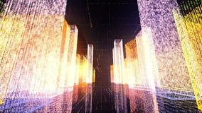 Het vliegen over de digitale stad in het commerciële en telecommunicatienetwerk van Internet het 3d teruggeven Stock Foto
