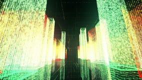 Het vliegen over de digitale stad in het commerciële en telecommunicatienetwerk van Internet het 3d teruggeven Stock Afbeelding