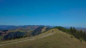 Het vliegen over een mooie bergketen in de Karpaten stock video