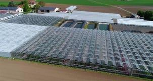 Het vliegen over grote serres Serre met het openen van vensters Bloem het groeien aanplanting, grote serres stock video