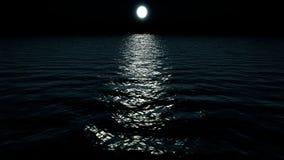 Het vliegen over oceaan bij Nacht stock footage
