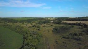 Het vliegen over het platteland stock footage
