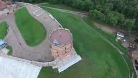 Het vliegen rond de toren stock video
