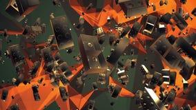 Het vliegen, roterende stuk speelgoed bakstenen in gouden kleur stock footage