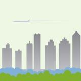 Het vliegen in Stad Stock Fotografie
