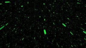 Het vliegen stukken in groen op zwarte stock videobeelden