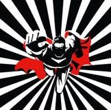 Het vliegen superhero op camera Zwart-witte grafisch Stock Afbeelding