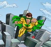 Het vliegen Superhero Stadsscène stock foto's