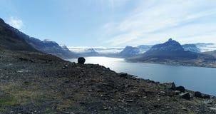 Het vliegen uit over mooie fjord in IJsland stock videobeelden