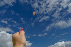 Het vliegen van een vlieger Stock Fotografie