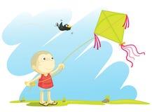 Het vliegen van een vlieger Royalty-vrije Stock Foto's