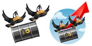 Het vliegen van grappige kraaien draagt een vat olie Royalty-vrije Stock Afbeelding