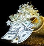 Het vliegen van het geld Stock Foto's