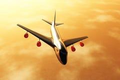 Het Vliegen van het vliegtuig de zonsondergang 3D /sunrise geeft 02 terug Stock Foto's