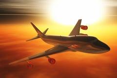 Het Vliegen van het vliegtuig de zonsondergang 3D /sunrise geeft terug Stock Foto's