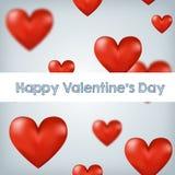 Het vliegen van rood de Dag harten Gelukkig Valentine, groot voor Stock Foto