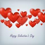 Het vliegen van rood de Dag harten Gelukkig Valentine, groot voor Stock Afbeeldingen