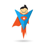 Het vliegen van Superhero Vector illustratie Stock Afbeeldingen