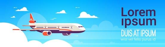 Het vliegen vliegtuig uitdrukkelijke levering die internationale de hemel van het vervoersconcept vlakke horizontale banner versc royalty-vrije illustratie