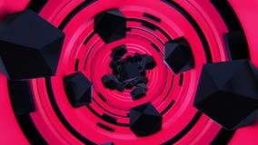 Het vliegen zwarte stukken in rode tunnel stock video