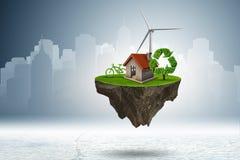 Het vliegende drijvende eiland in groen energieconcept - het 3d teruggeven Royalty-vrije Stock Fotografie
