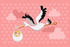 Het vliegende Meisje van de Baby van de Levering van de Ooievaar Stock Afbeeldingen