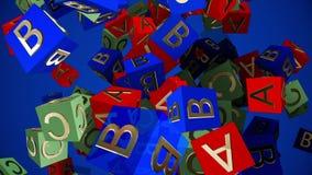 Het vliegende stuk speelgoed kubeert met brieven A, B, C stock videobeelden