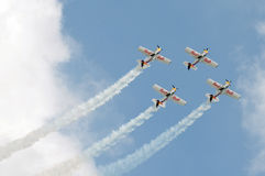 Het vliegende team van stierenkunstvliegen Stock Afbeeldingen