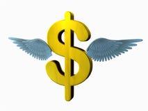 Het vliegende Teken van de Dollar Royalty-vrije Stock Afbeelding