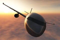 Het vliegtuig dat in de 3D zonsondergang vliegt geeft terug Stock Fotografie