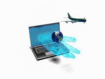 Het vliegtuig die van de laptop 3d hand van start gaan, geeft terug Stock Afbeelding