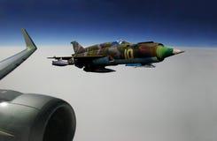 Het vliegtuig en de vechter van de passagier royalty-vrije stock afbeelding