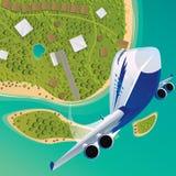 Het vliegtuig gaat naar omhoog van een tropisch eiland van start stock illustratie