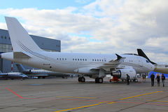 Het vliegtuig in het Parkeren lpt Royalty-vrije Stock Afbeelding