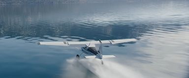 Het vliegtuig krijgt op het water royalty-vrije stock afbeeldingen