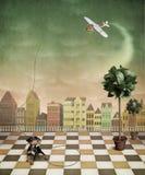 Het vliegtuig, puppy en twee bomen stock illustratie