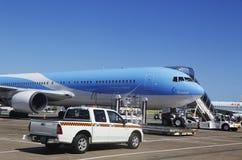 Het vliegtuig van België TUI Airlines bij de Luchthaven van Punta Cana, Dominicaanse Republiek Royalty-vrije Stock Foto