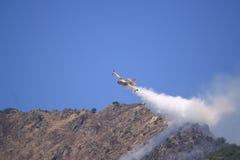 Het vliegtuig van Canadair aan brand Stock Foto
