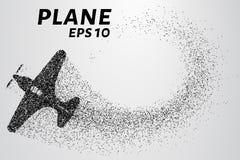 Het vliegtuig van de deeltjes Het vliegtuig bestaat uit kleine cirkels Vector illustratie Royalty-vrije Stock Foto's